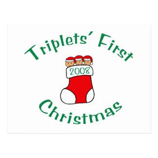 Triplets First Christmas - Stocking 2008 Postcard