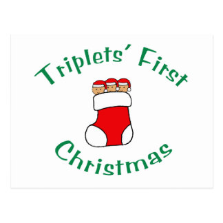 Triplets First Christmas - Stocking (no date) Postcard