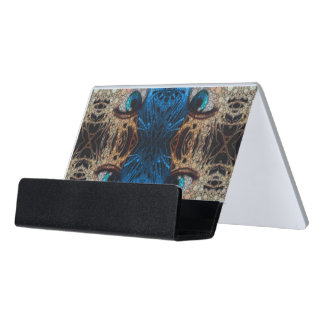 Trippy Blue Eye Abstract Desk Business Card Holder