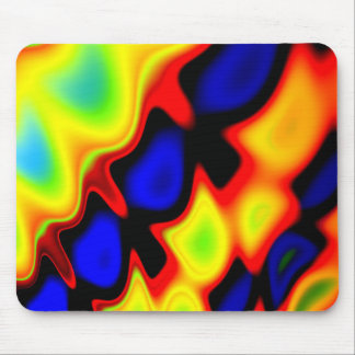 Trippy Blue Red Yellow Abstract Mouse Pad