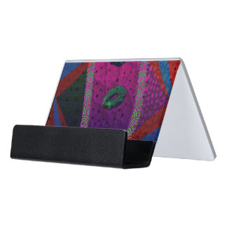 Trippy Florescent Abstract Lips Desk Business Card Holder
