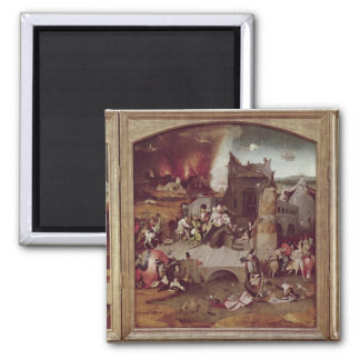 Triptych of the Temptation of St. Anthony Square Magnet