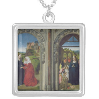 Triptych showing the Annunciation Silver Plated Necklace