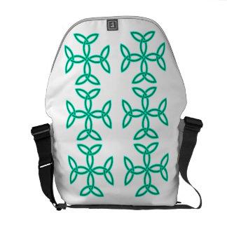 Triquetra Knotwork Crosses in Sage Bright Green Messenger Bag