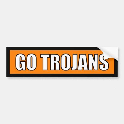 Trojans - Black Orange White Bumper Sticker