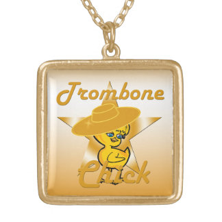 Trombone Chick #10 Gold Plated Necklace