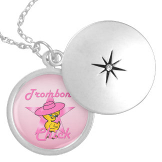 Trombone Chick #8 Silver Plated Necklace