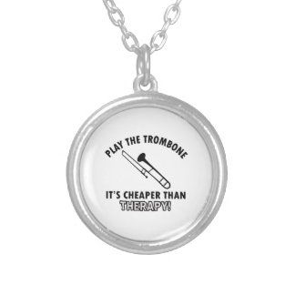 TROMBONE instrument designs Silver Plated Necklace
