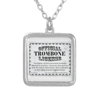 Trombone License Silver Plated Necklace