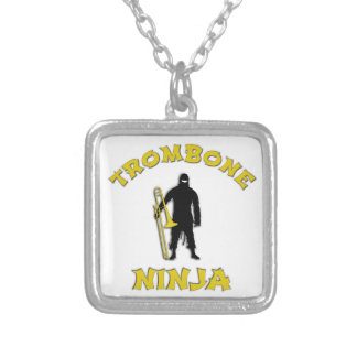 Trombone Ninja Silver Plated Necklace