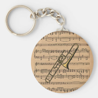 Trombone With Sheet Music Background Key Ring