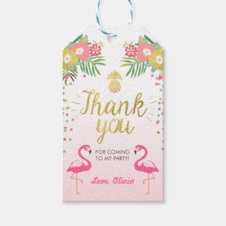 Tropial Birthday thank you tags Flamingo Luau