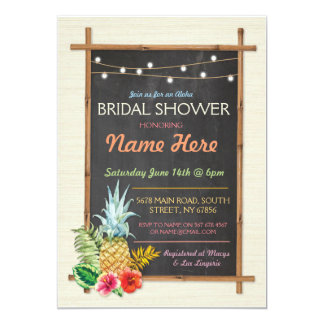 Tropical Aloha Lights Chalk Bridal Shower Invite