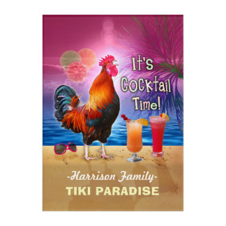 Tropical Beach Cocktail Bar Funny Rooster Chicken Acrylic Print