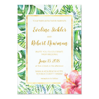 Tropical Beach Destination Wedding Invitation