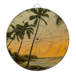 Tropical Beach Palm Tree Island Scenery Dartboard
