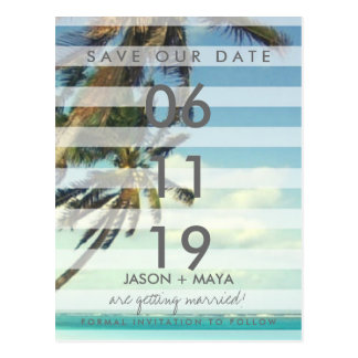 Tropical Beach Palms Wedding Save The Date Postcard