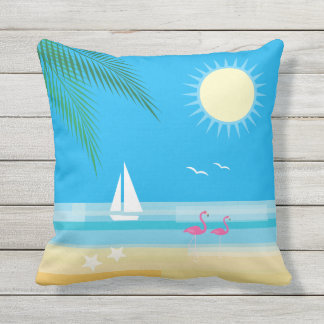 Tropical Beach with Flamingos on Blue - Outdoor Outdoor Cushion