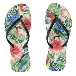 Tropical Birds, Flowers and Palm Leaves Jandals