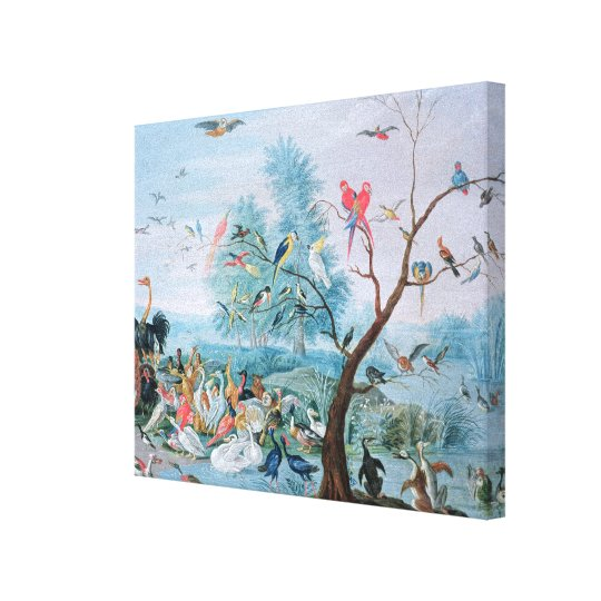 Tropical birds in a landscape canvas print