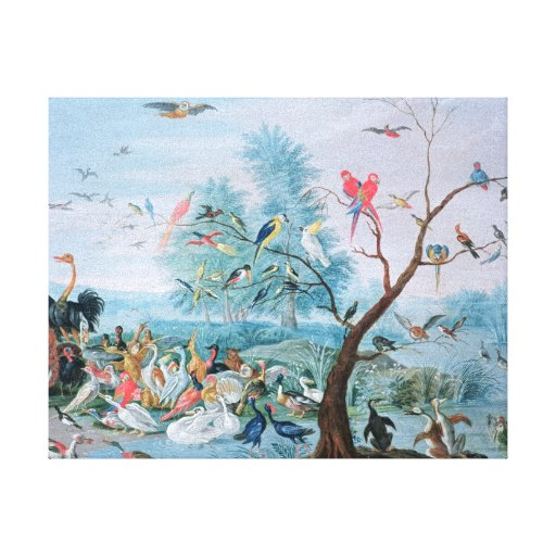 Tropical birds in a landscape canvas prints