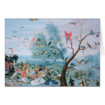 Tropical birds in a landscape greeting card