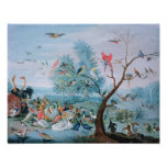 Tropical birds in a landscape poster