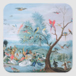 Tropical birds in a landscape square sticker