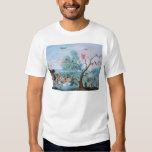 Tropical birds in a landscape tshirts
