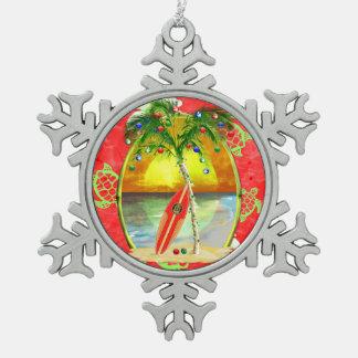 Tropical Christmas Palm Tree Snowflake Pewter Christmas Ornament