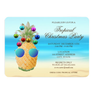 Tropical Christmas Pineapple   Party Invite