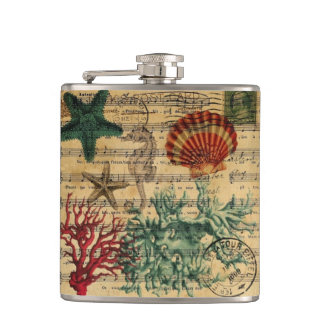 tropical coastal coral seashells seahorse hip flask
