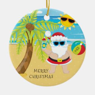 Tropical Cocktail Santa Hawaiian Christmas Christmas Ornament