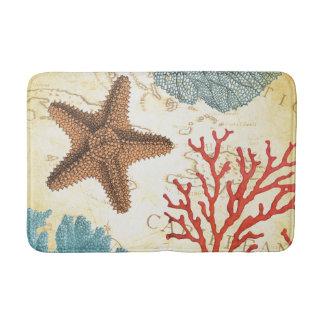 Tropical Colourful Caribbean Starfish and Coral Bath Mat