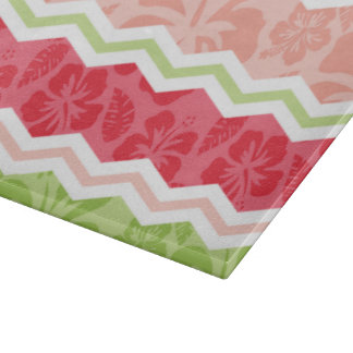Tropical Coral Pink and Light Green Chevron Cutting Board