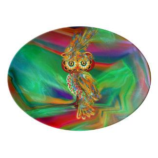Tropical Fashion Queen Owl Platter Porcelain Serving Platter