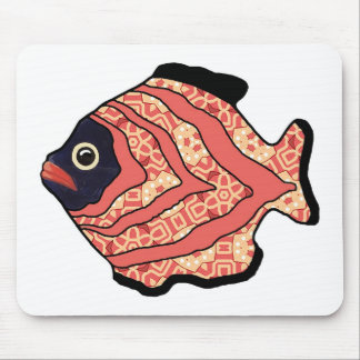 Tropical Fish-05  Red and Sunset Orange Mouse Pad