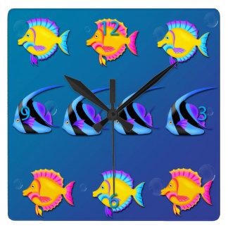 Tropical Fish 2 Square Wall Clock