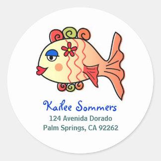 Tropical Fish Address Labels Round Sticker