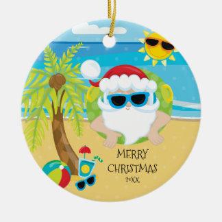 Tropical Floating Santa Hawaiian Christmas Christmas Ornament