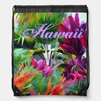 Tropical Flora and Plants in Paradise Drawstring Bag