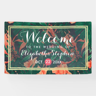 Tropical Floral & Gold Foil Frame Wedding Welcome Banner