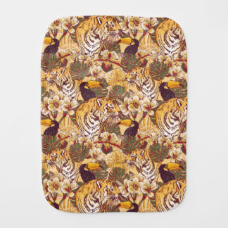 Tropical Floral Pattern With Tiger Burp Cloth