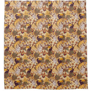 Tropical Floral Pattern With Tiger Shower Curtain