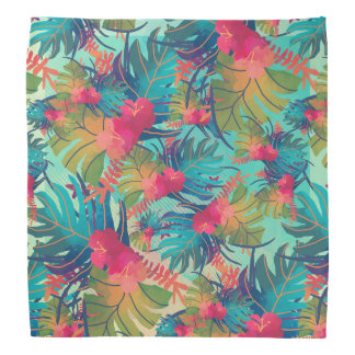 Tropical Floral Watercolor   Bandana