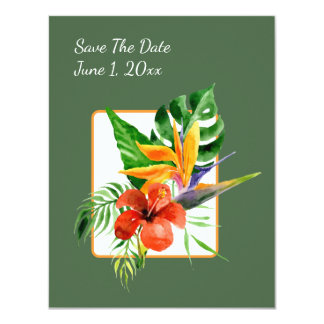 Tropical Floral Watercolor Save The Date Cards