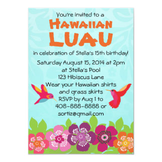 Tropical Flower Luau Party Invitation