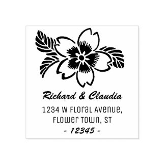 Tropical Flower Wildflower | Name Return Address Rubber Stamp