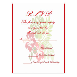 Tropical Flowers Wedding Postcard