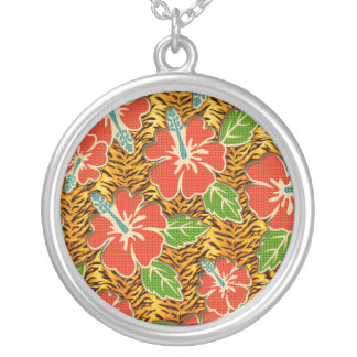 Tropical Flowers Wild Tiger Pattern Silver Plated Necklace